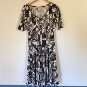 Lularoe drop-waist grey, black and white dress.